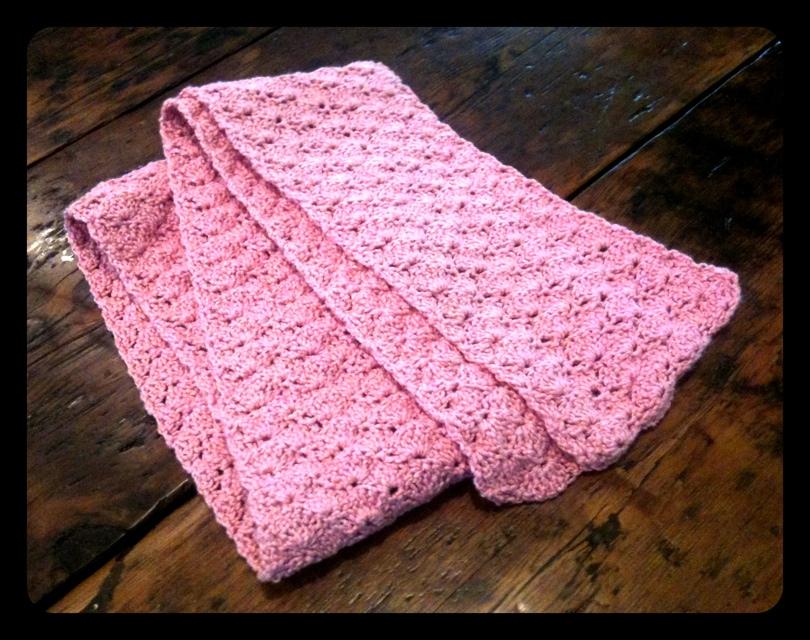 Pink Shell Stitch Scarf No Needle Knitting