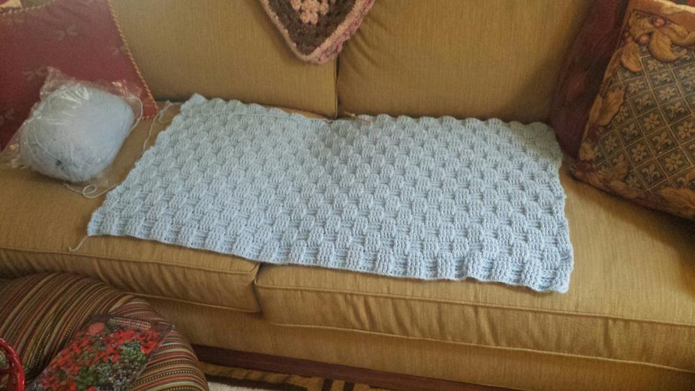 Basket weave baby blanket (4/5)